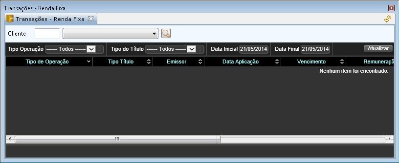 Tela onde são exibidas as transações no módulo de Renda Fixa.