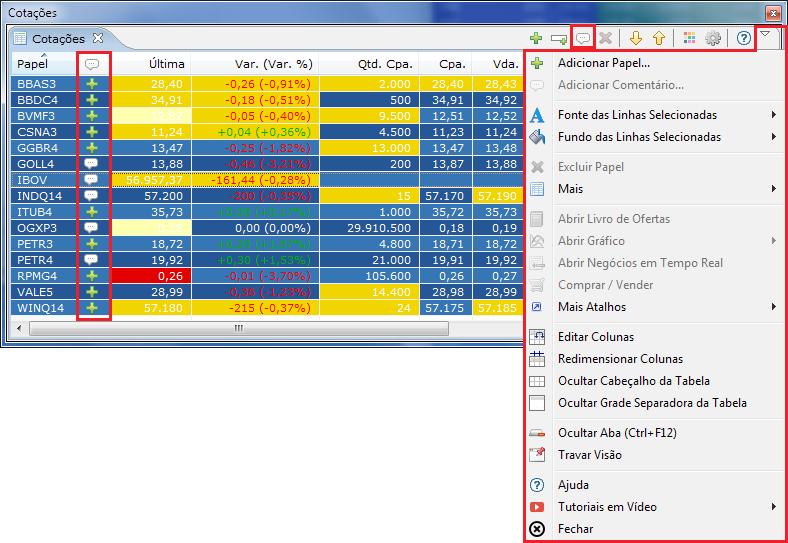 Monitor de Cotações destacando o novo menu, a coluna Comentário e o item, na barra de ferramentas, para adicionar comentário.