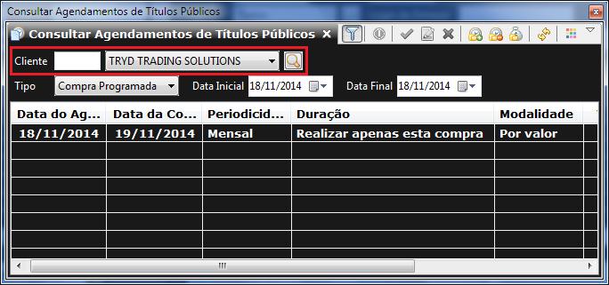 Tela de agendamento de operações em títulos públicos, destacando o campo para seleção da subconta.