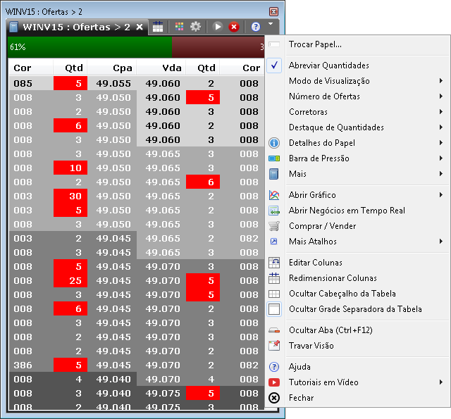 Livro de ofertas exibindo as novidades, como: destaque de quantidade, filtro por quantidade, barra não segmentada por preço, exibição de percentuais na barra, etc.