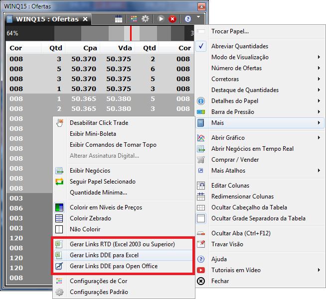 Livro de ofertas destacando os itens no menu para geração dos links DDE ou RTD.