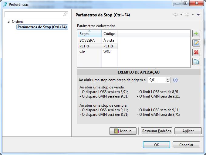 Preferências listando os parâmetros cadastrados. Para acessar, use o atalho CTRL + F4 ou vá em: Editar > Preferências > Ordens > Parâmetros de Stop